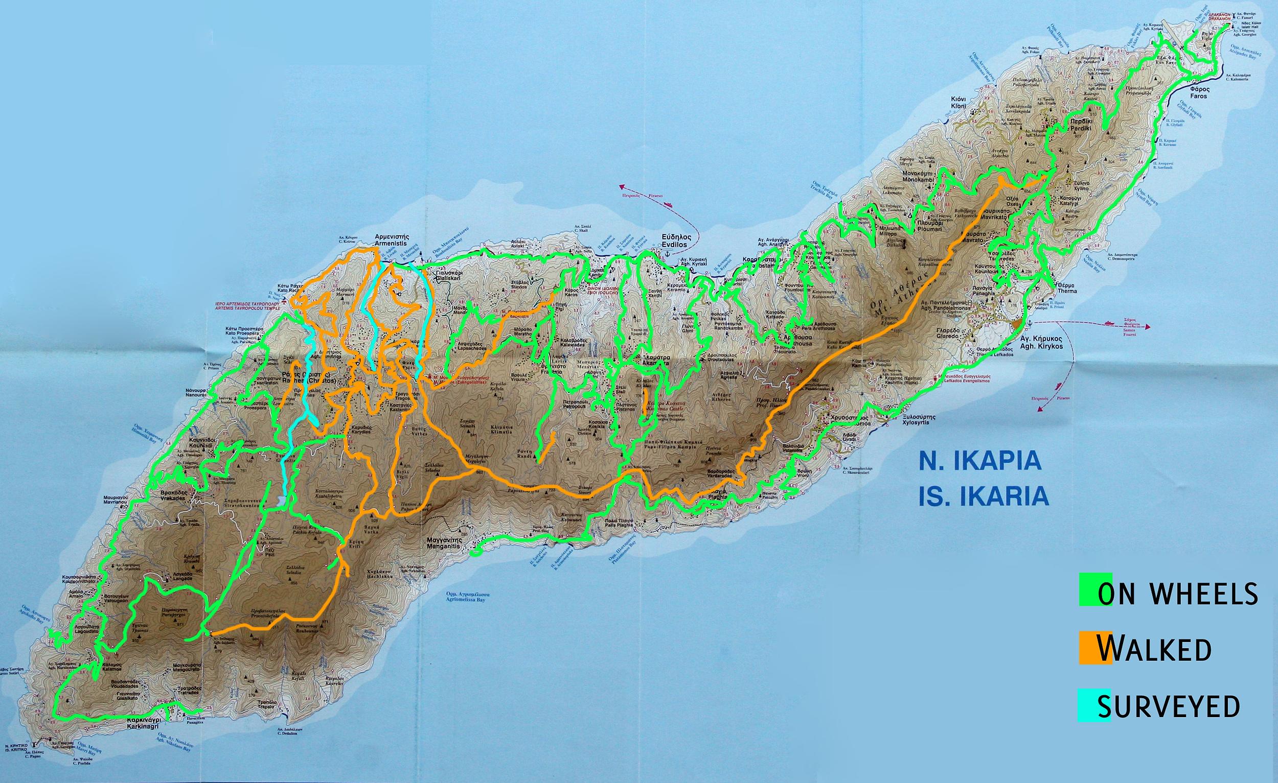 routes on Ikaria