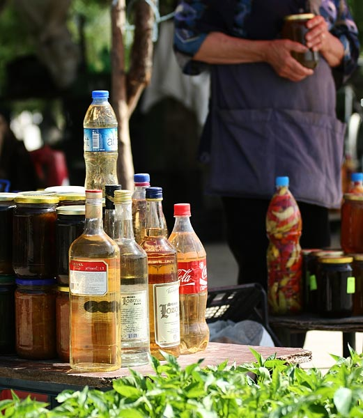 roadside rakija, ajvar and honey stands