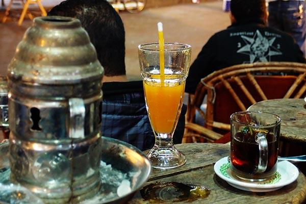Shisha, mango juice & tea