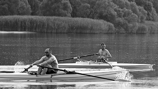 1st attempt at (un)synchronized rowing,  Bresternica, July 6th © Mateja Meh
