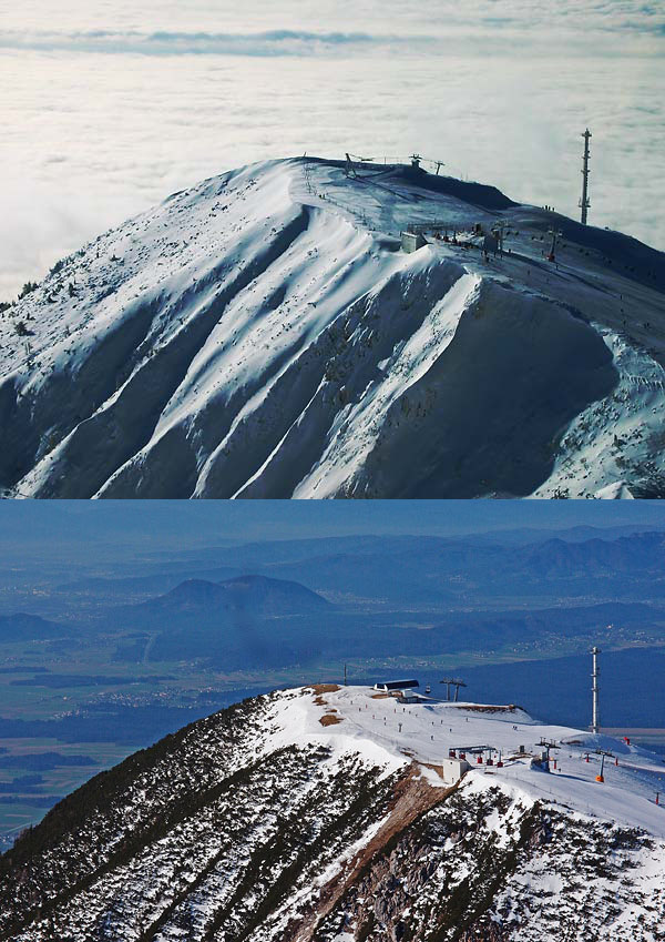 Krvavec on 4.12.2005 top & 12.4.2015 bottom (dates are pure coincidence). Dissapointment with custumer service has and will continue to keep me away from this amazing view. Ski season (likely) ends with #23