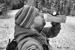 I did my b-day celebrations with a snowy walk in the woods and a yogurt. Pohorje, Apr.18th